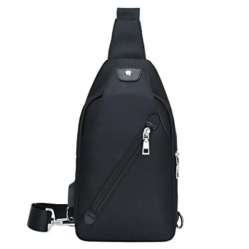 Männer Casual Brusttasche Umhängetasche Mode Große Kapazität Rucksack Black