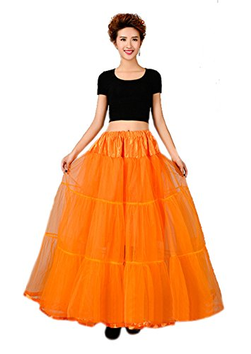 Honeystore 1950's Knöchellänge Vintage Rockabilly Petticoat Retro Ballett Tutu Reifrock Unterrock Underskirt Braut Party Hochzeit HALLOWEEN FASCHING KARNEVAL Orange One (Kostüme Halloween Figuren Jahre 80er)