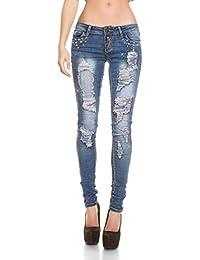 Blanco Store - Jeans Donna Elasticizzato Pantalone Denim Strappi Strass e  perle 518653401ba