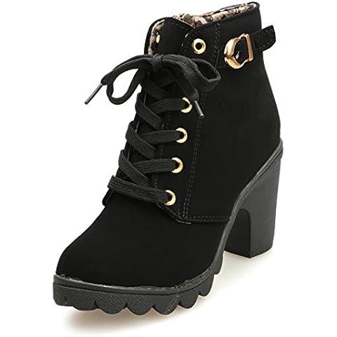ZARU Señoras de tacón bajo las botas del tobillo de la hebilla de correa Martin botas nieve de las mujeres para el invierno ★cuero artificial★