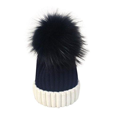 Damen Mütze Mit Bommel,TUDUZ Frauen Mädchen Winter Strickmütze Pelzmütze Echt Große Waschbär Pelz Pom Beanie Hüte (B) (Pelz-pom-pom Echte)