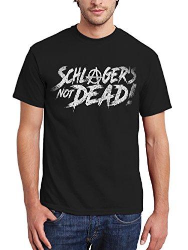 clothinx Herren T-Shirt Schlager is Not Dead Schwarz Gr. 3XL
