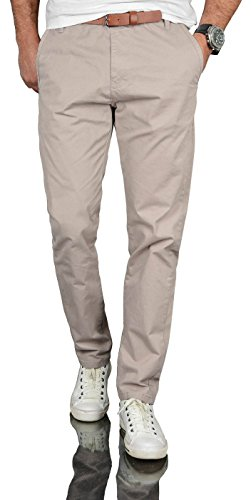 A. Salvarini Herren Designer Business Chino Hose Chinohose Regular Fit AS-095 [AS-095 - Hellgrau - W32 L34]