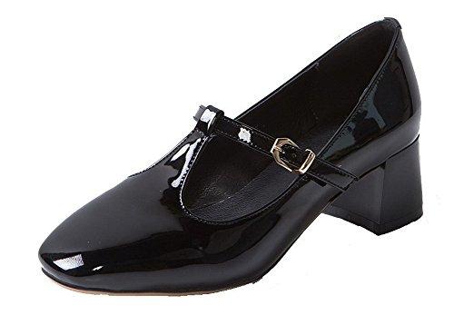 Cuir VogueZone009 Carré Talon à Chaussures Couleur Noir Femme Légeres PU Bas Boucle Unie wHrqBxEHp