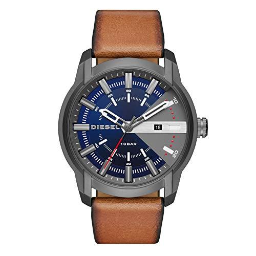 Diesel Herren Analog Quarz Uhr mit Leder Armband DZ1784