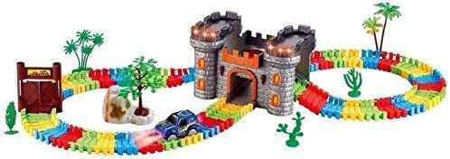 Akrobo 158 Pcs Glow in The Dark Race Track Magical Set with Castle (Mullticolour)