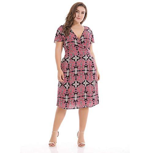 871e1c78a Patrón de impresión con Cuello en v de la Mujer Maxi Vestidos Boho Casual  Work Plus