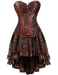 Grebrafan Steampunk Retro Steel Boned Corsets Corsés with Fluffy Pleated Layered Tutu Skirt