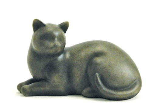 Near & Dear Pet Memorials Elite Cat Resin Cremation Urn, 25 Cubic Inch, Fawn 1