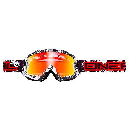 O'Neal B-Flex Goggle HENDRIX Schwarz Weiß Radium verspiegelt Moto Cross MX Motorrad Downhill, 6024BH-201