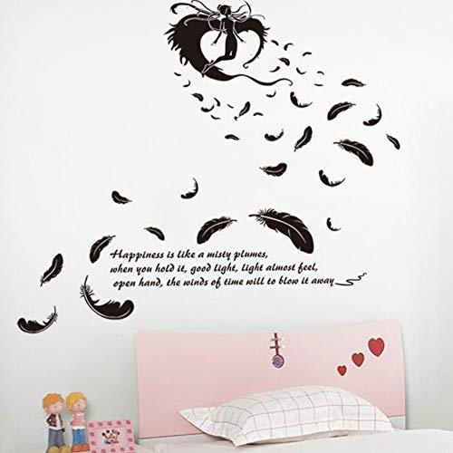 Yzybz Schwarze Fliegende Feder Engel Wandaufkleber Für Wohnzimmer Tv Hintergrund Schlafzimmer Dekoration Kunst Wandtattoos Wasserdichte Wandbilder