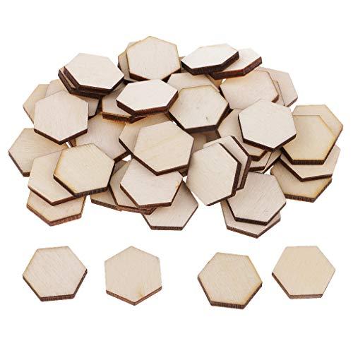 perfeclan 54pc 1,8x1,8 cm Holz Hexagon Crafts Ausschnitt Form Unvollendete Holz Mosaik Fliesen
