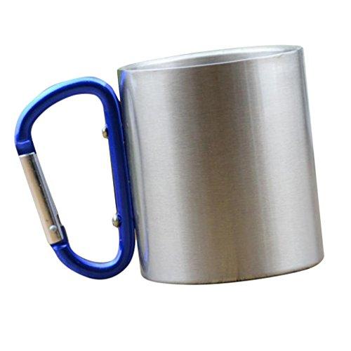 MagiDeal Karainerhaken Aluminium Tassen Camping Becher Outdoor-Reisen Metall Becher für Wandern Klettern 150ml - Blau