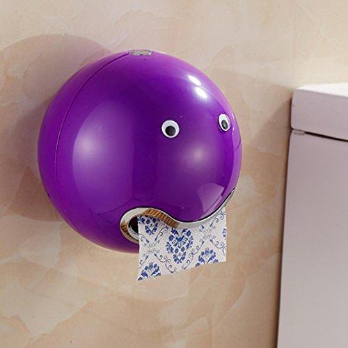 """DOLDOA Kreative Emoji Toilettenpapierhalter Wasserdichte WC-Rollenhalter Klopapierhalter (18,5 x 18,5 cm / 7,28 """"x 7,28"""", Lila - Toilettenpapierhalter)"""