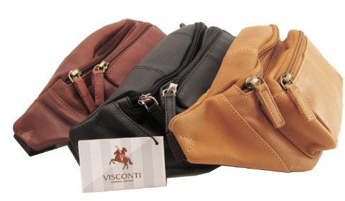Visconti Riñonera unisex de cuero (color canela / tan)