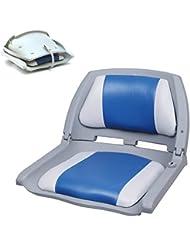 [pro.tec] Asiento de barco / silla de barco - plegable y tapizado [azul- blanco] piel sintética