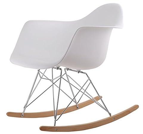 Chaise A Bascule Rétro Lounge Loisir Inspiration Eames - Blanc
