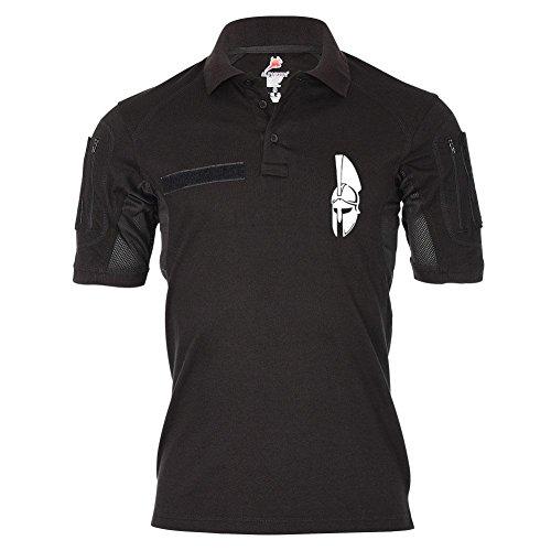 Tactical Poloshirt Alfa Sparta Komm und hol Sie dir Helm 300 König Leonidas Molon Thermopylen Spartiak T Shirt #19196, Größe:XL, Farbe:Schwarz (Helm-t-shirt)