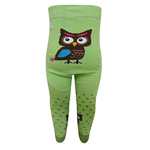 riese-strumpfe-tights-baby-girl-spotted-owl-motif-green-80-86grun