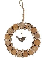 Decoración de Hogar Colgante Rústica Anular Pájaro del Amor Vendimia Madera - 38cm