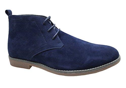 Scarpe polacchine uomo blu casual scamosciate sneakers stivaletti invernali (43)