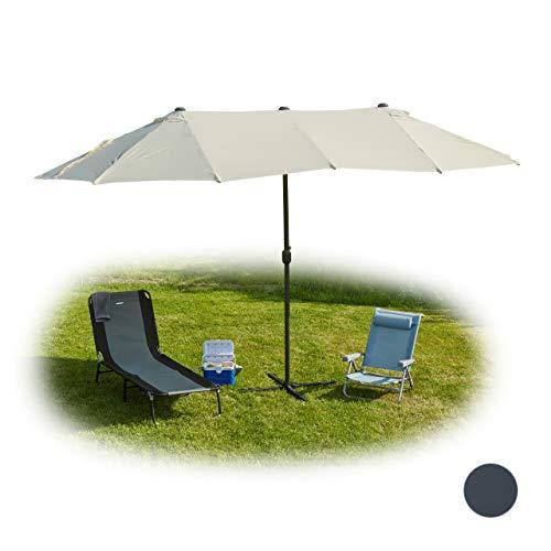 Relaxdays Doppelsonnenschirm, ovaler Sonnenschirm für Garten & Terrasse, mit Kurbel & Ständer, HBT 255x450x260cm, beige