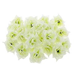 Imported Pack of 50pcs Artificial Silk Triangle Rose Flower Heads Bulk Wedding Home Decor - cream, 2 x 3