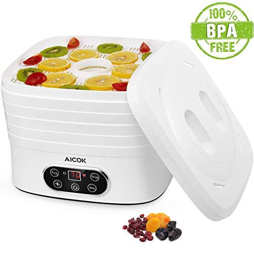 AICOK Déshydrateu Alimentaire, BPA FREE, Déshydrateur Électrique avec Écran LCD, 35 ° C-70 ° C, Arrêt Automatique et Silencieux, Sécurité Lave-vaisselle, 5 Étagères, Garantie de 24 Mois