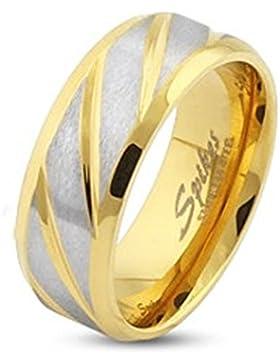 Paula & Fritz® Ring aus Edelstahl Chirurgenstahl 316L silber 6mm breit goldveredelt und diagonal gestreift Ringgrößen...