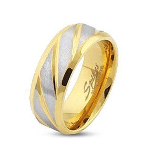 Paula & Fritz® Ring aus Edelstahl Chirurgenstahl 316L silber 8mm breit goldveredelt und diagonal gestreift 63 (20) R-S1561G-8_110