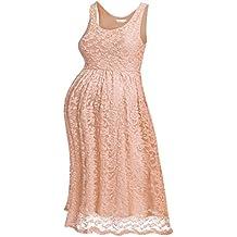 HOTOUCH Damen Umstandskleid Maternity Kleid Jerseykleid Schwangerschafts Kleid Spitzenkleid Tank Kleid Empire Kleid Spitzen Ärmellose Rundhals