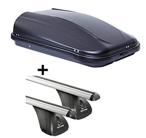 320Ltr schwarz glänzend abschließbar + Aluminium Dachträger Aurilis Original für Mazda 3 I (4-5Türer) 2004-2009 ()