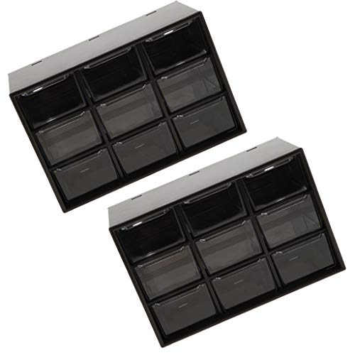 perfk 2X 9 Schubladen System Kunststoffbox Mehrzweck Organizer Tool Box Storage Cabinet Schwarz -
