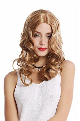 Wig me up ® - 90654-k26 parrucca donna carnevale halloween lunga biondo riga in mezzo ondulata