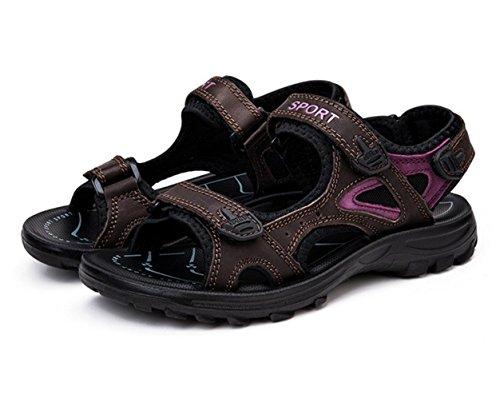 WZG New sandales en cuir chaussures d'été d'escalade sportive de loisirs de plein air sandales de plage pataugeoires appartements Brown