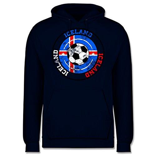 EM 2016 - Frankreich - Iceland Kreis & Fußball Vintage - Männer Premium Kapuzenpullover / Hoodie Dunkelblau