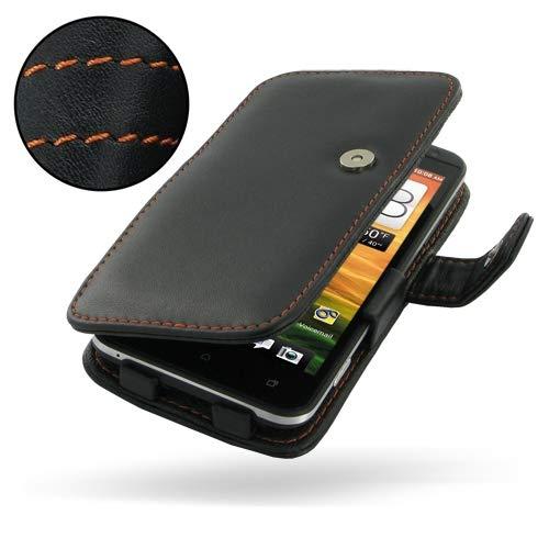 PDair Handarbeit Leder Book Hülle for HTC EVO 4G LTE (Orange Stitch) (Otter Box Htc Lte)