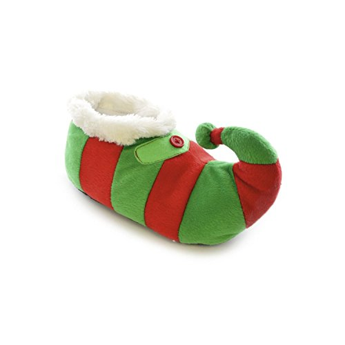 Universal Textiles Childrens/Kids Striped Elf Design Novelty Christmas Slippers