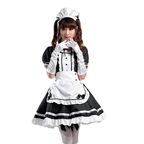 tzm2016 Women's Lolita French Maid Cosplay Costume, 4 pcs as a set including dress; headwear; apron; fake collar ( black , Size L )