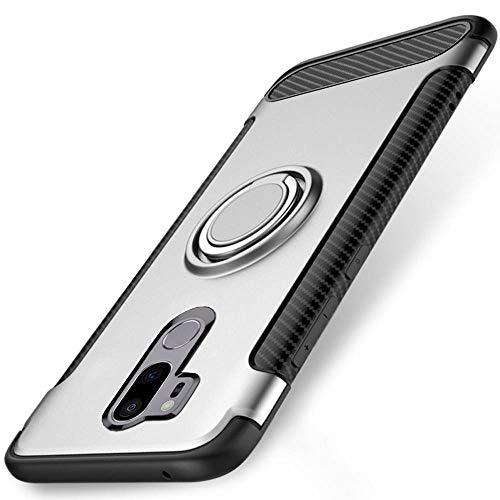 WindCase LG G7 / G7 ThinQ Hülle, 360 Grad drehbarer Ring Halter Ständer Dual Layer Stoßfest Schutzhülle Kompatibel mit Magnetic Car Mount Fall für LG G7 / G7 ThinQ Silber -