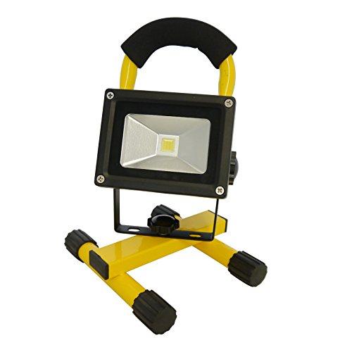 Grafner® Akku-Baustrahler LED 10 Watt 800 LM 2200 mAh 6000K 2x Ladegerät (230V Ladegerät und KFZ-Ladegerät) Strahler Fluter Akku Lampe Campinglampe Flutlicht (gelb)