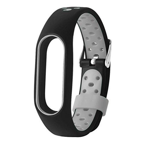 Transer® Für Xiaomi Mi Band 2 Uhrenarmband, Weiches TPE Sport Lightweight Ventilat Ersatz Armband (Grau) (Metall-mesh-halter)