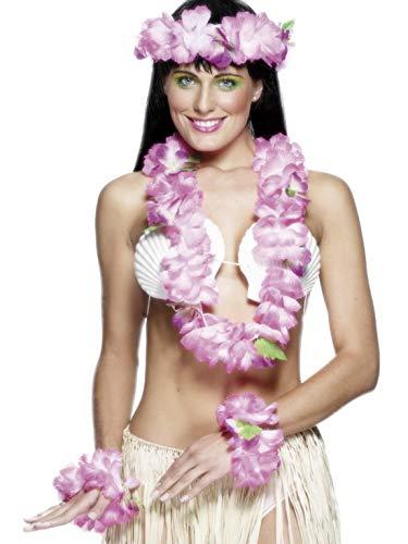 Accessoires Zubehör 4-teiliges Damen Frauen Hawaii Hula Set Deluxe mit Blumenkette, Arm- und Strinband, perfekt für Karneval, Fasching und Fastnacht, Rosa ()