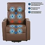 maxVitalis Fernsehsessel - Relaxsessel - Komfortsessel mit Aufstehhilfe, Wärmefunktion & Massage || ausklappbarer Seitentisch || inkl. Seitenfach (Braun) - 4