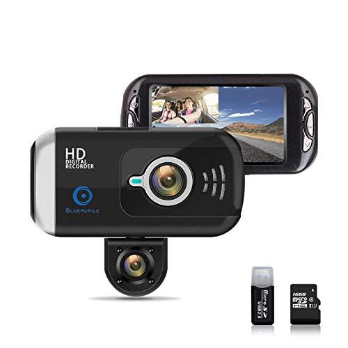 """Bodekang - Cámara de Coche con Doble Lente para cámara de salpicadero GPS 1080P FHD 170° Gran Angular 3.0"""""""