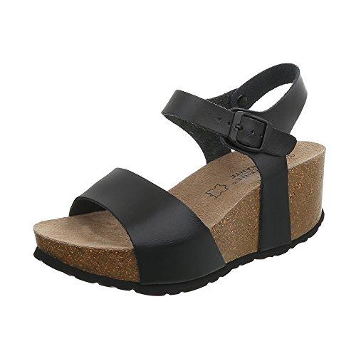 Ital-Design Keilsandaletten Leder Damen-Schuhe Keilabsatz/Wedge Schnalle Sandalen & Sandaletten Schwarz, Gr 38, Lbs2193-