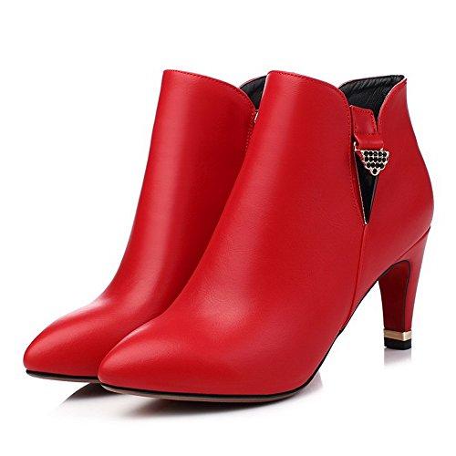 VogueZone009 Donna Scarpe A Punta Tacco Alto Alla Caviglia Puro Stivali con Metallo Pezzo Rosso