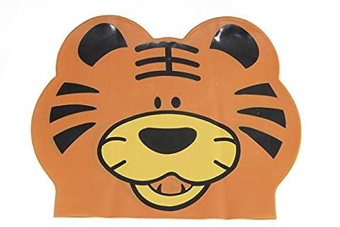 Junior Smiley Tigre enfants Bonnet de bain en latex, Orange