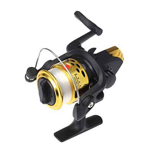 BESPORTBLE 200 kleine Angelrolle Aluminium Spinning Angelrolle mit Kabel für Salzwasser oder Süßwasserfischen (Golden)