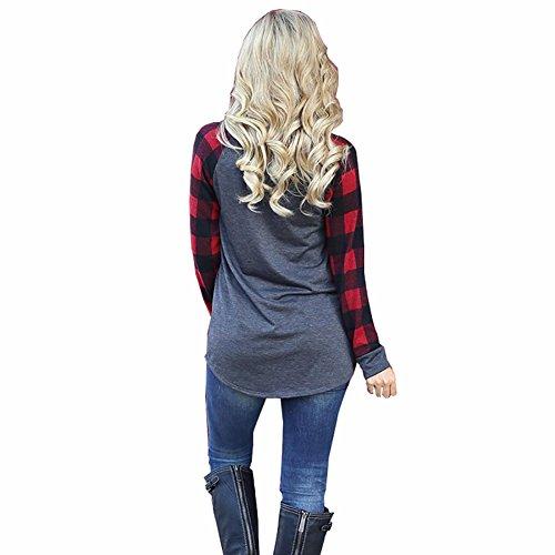 Melansay Automne Dames À Manches Longues Plaid Splice T-Shirt Blouse Mode Femmes Col Rond Pull Tops Rouge